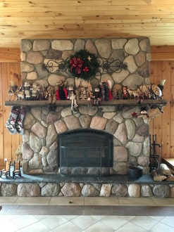 By the fireplace at the farm
