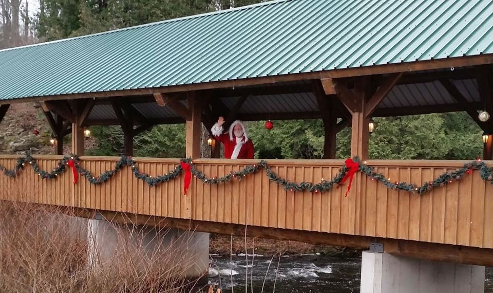 Santa on covered bridge